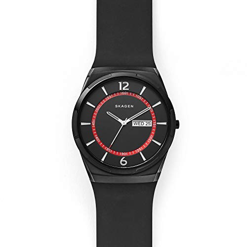 Skagen Men's Melbye Three-Hand Day-Date Black-Tone Stainless Steel Watch SKW6506