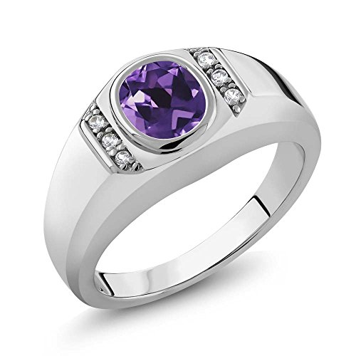 1.06 Ct Oval Purple Amethyst White Created Sapphire 925 Sterling Silver Men's (Created Purple Sapphire)