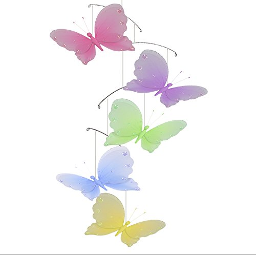 Butterfly Mobile Jewel Nylon Mesh Butterflies Mobiles Decorations Decorate Baby Nursery Bedroom, Girls Room Ceiling Decor, Birthday Party, Baby Shower, Crib Mobile, Baby Mobile, Hanging Mobile, 3D Art