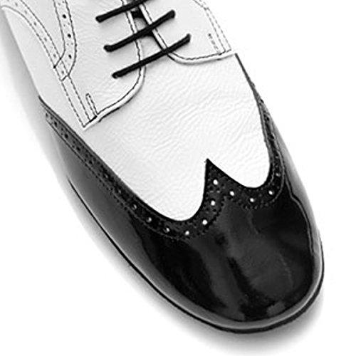 PortDance Herren Tanzschuhe PD042 - Leder Weiß/Lack Schwarz - 2 cm Standard