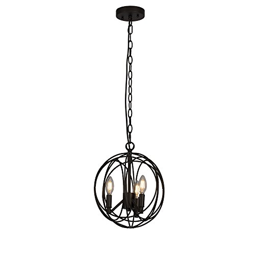 Light Wrought Iron Foyer Fixture (Emliviar Industrial Vintage Pendant Light, 3-Light Retro Loft Wrought Iron Metal Globe Cage, Rustic Spherical Ceiling Hanging Light, Oil Rubbed Bronze, 0935P-3ORB)