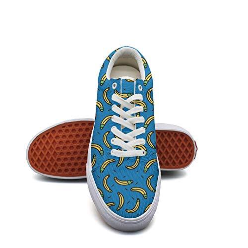 Women'scartoon Banana Canvas Shoes Low-Cut Straps Unique Sneakers