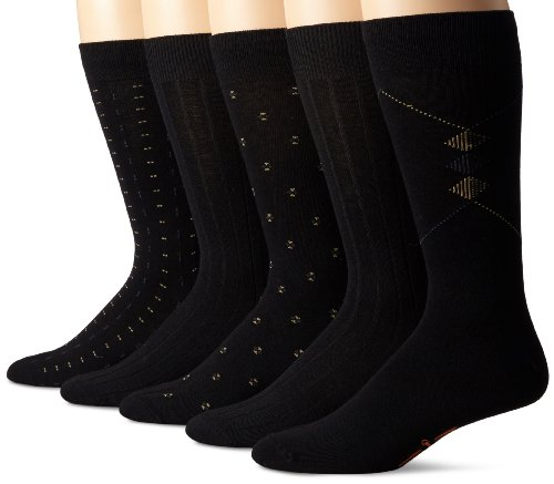 Dockers Men's 5 Pack Classics Dress Dobby Crew Socks, Black, Sock Size:10-13/Shoe Size: 6-12