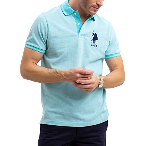 U.S. Polo Assn. Mens Solid Birdseye Pique Polo Shirt with Big Pony - Painters Aqua, Medium