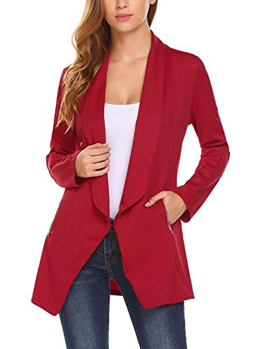 ELESOL Women's Casual Thin Open Front Blazer Basic Work Ruched Sleeve Crop Jacket Wine ()
