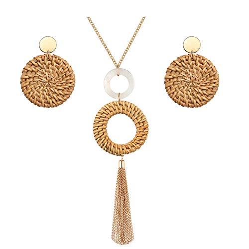Long Necklace and Rattan Earrings Set for Women Handmade Long Tassel Rattan Necklace Wicker Earring Lightweight Weave Statement Jewelry (Brown)