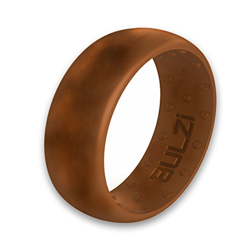BULZi – Massaging Comfort Fit Silicone Wedding Ring - #1 Most Comfortable Men's Wedding Band – Round Edges with Flexible Work Safety Domed Design (Teak, 10 - 19.8mm)