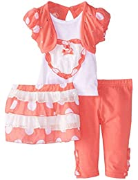 Infant Girls Coral & White Top Leggings Skirt Outfit 3 PC Set