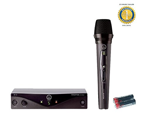 AKG Perception Wireless Vocal Set High-Performance Wireless Microphone System Band A with 2 Free Universal Electronics AA Batteries and 1 Year Free Extended Warranty by AKG