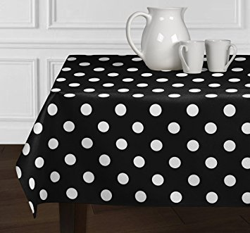 ArtOFabric Decorative Cotton White Polka Dots on Black Tablecloth in 59x72 Inch