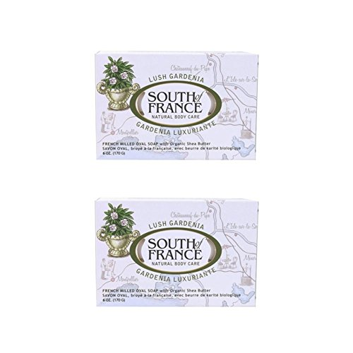 (South Of France Milled Bar Soap, Gardenia, 6 Ounce (Pack of)
