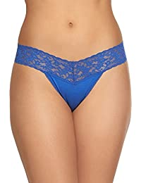 Womens Rolled Organic Cotton Low Rise Thong With Lace In Atlantis