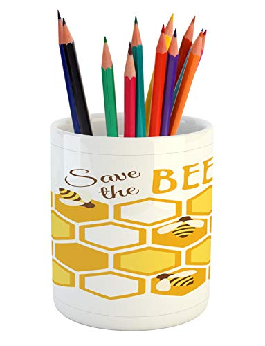 Lunarable Honey Bee Pencil Pen Holder, Hexagons as Combs with Save The Bees Typography Graphic, Printed Ceramic Pencil Pen Holder for Desk Office Accessory, Pale Orange Mustard and Chocolate