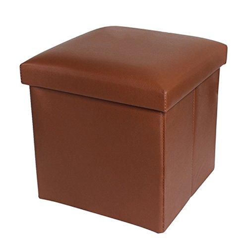 NISUNS OT01 Leather Folding Storage Ottoman Cube Footrest Seat, 12 X 12 X 12 Inches (Brown) (Store Stool Storage)