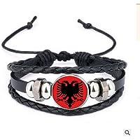 Runfon Albanian Flag Flag National Woven Bracelet with Bead Design Bracelet for Fans Football Memorabilia Russia 2018