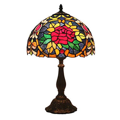 (QCKDQ 12 inch Tiffany Style Table lamp, Peony Flower Stained Glass Table lamp with Push Button Switch, Retro Living Room, Decoration Night Light)