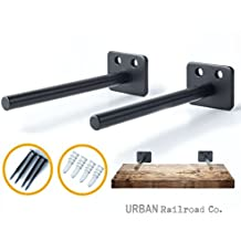 "Solid Steel Floating Shelf Brackets - 6"" Steel Rod with 1/2"" Diameter, Powder Coated Finish, Rustproof Blind Shelf Supports, Flush Fit, HARDWARE ONLY - Bracket Set of 2, Includes Screws & Wall Anchors"