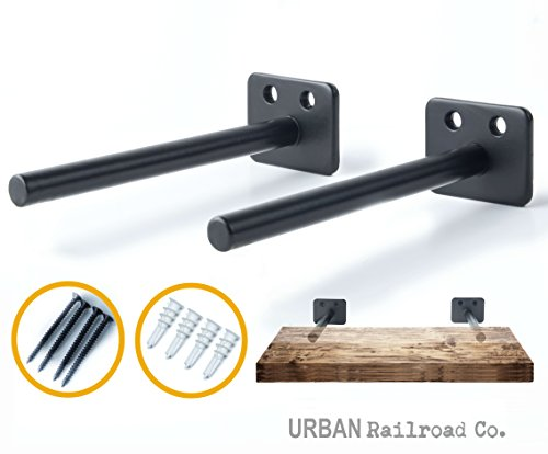 "Solid Steel Floating Shelf Brackets - 6"" Steel Rod with 1/2 Diameter, Powder Coated Finish, Rustproof Blind Shelf Supports, Flush Fit, HARDWARE ONLY - Bracket Set of 2, Includes Screws & Wall Anchors"