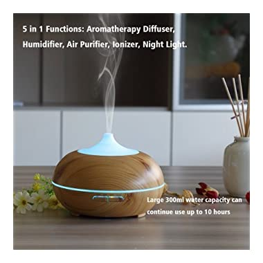AOTOM 300ml Essential Oil Diffuser, Wood Grain Ultrasonic Aroma Cool Mist Humidifier for Bedroom Home Kids Yoga Spa (light brown)