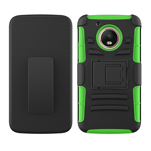 Price comparison product image Newest Hybrid Phone Kickstand Holster Belt Clip Cover Case For Motorola Moto E4 2017/G5 Multicolor, Freshzone (Green)