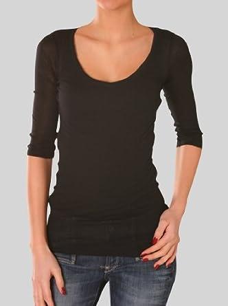 458eedaaaf1 American Vintage - T-shirt - Uni - Manches 3 4 - Femme Noir Noir ...
