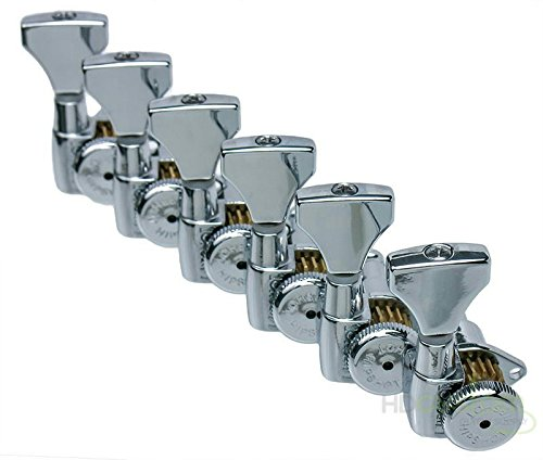 Hipshot Grip-Lock 6 inline Staggered Locking Tuners - Chrome by Hipshot