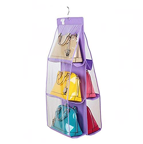 Santwo 6 Pocket Handbag Anti-dust Cover Clear Hanging Closet Bags Organizer Purse Holder Collection Shoes Save Space
