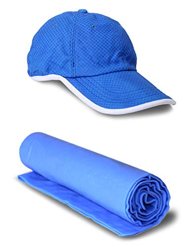 75℉ HAT レディース US サイズ: Cooling Baseball Cap & Towel Set カラー: ブルー
