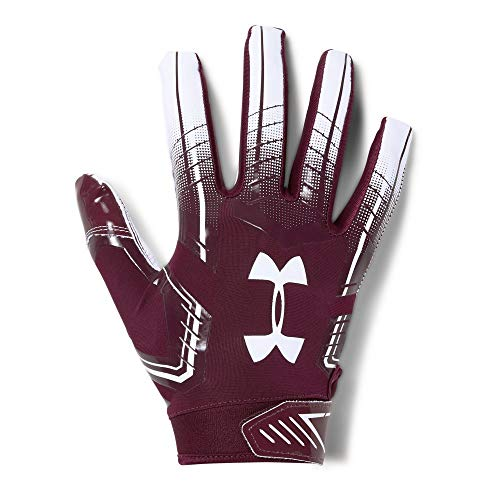 Under Armour Men's F6 Football Gloves, Maroon (609)/White, Small/Medium