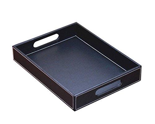 Price comparison product image YAPISHI PU Leather Serving Tray / Dish with Handles (Black)