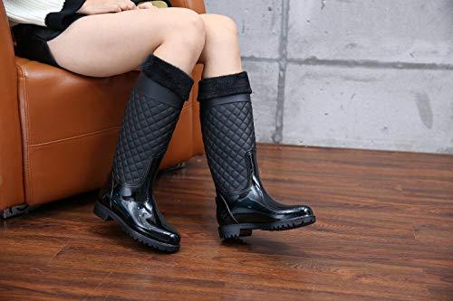 Alti Pioggia Boot Wellington Di Velluto Impermeabile Lily999 Nero Donna Stivali Rain Gomma Giardino xw0Ygg8Iq