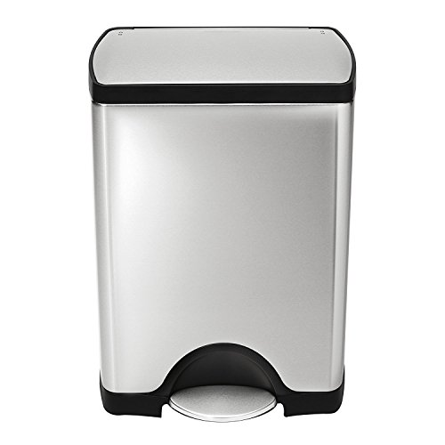 simplehuman Rectangular Step Trash Can, Stainless Steel, 30 L / 8 Gal