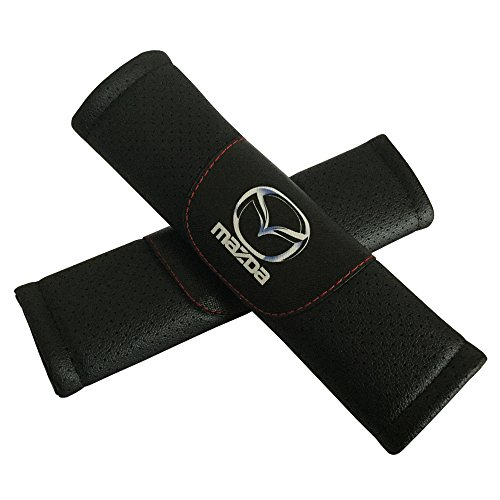 Jimat 2pcs Mazda Logo Black Leather Car Seat Safety Belt Strap Covers Shoulder Pad Accessories Fit For Mazda 3 Mazda CX-3 Mazda 6 Mazda CX-5 Mazda MX-5 Miata Mazda CX-9