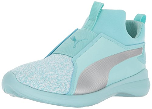 PUMA Girls Rebel Mid Fashion Knit Kids Sneaker, Island Paradise Silver, 2 M US Little