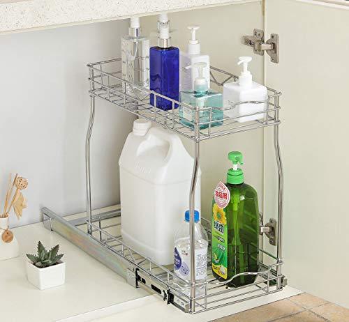 Kitchen TQVAI Pull Out Cabinet Organizer 2 Tier Slide Wire Shelf Basket – Request at Least 12 inch Cabinet Opening, Medium Top pull-out organizers
