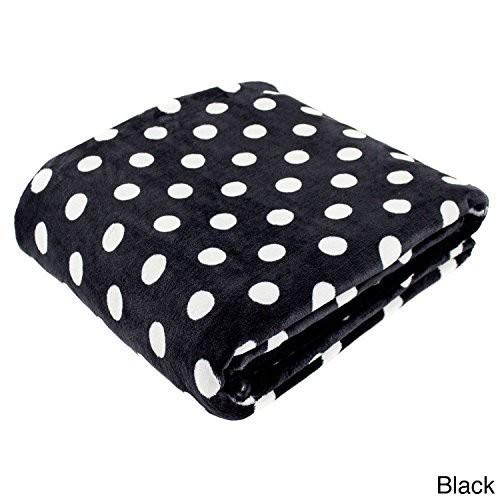 (Cozy Fleece Polka Dot Super Soft Oversized Throw, 60 x 80, Black )