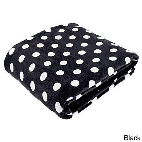 Cozy Fleece Polka Dot Super Soft Oversized Throw, 60 x 80, Black