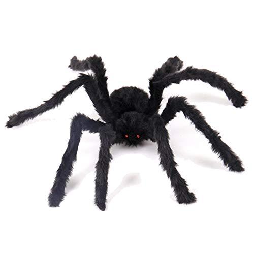 Xinhuamei Giant Black Spider Decor Halloween Large Size Realistic Fake Hairy Spider Decor Outdoor Big Spider Props Halloween Party Garden Patio Spiderweb Decoration 59 Inch -