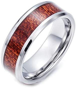 AmDxD Wolfram Stahl Herren Ringe Hölzern Heiratsantrag Ring Verlobungsringe Wolframringe Silber Braun