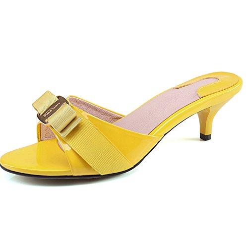 Bow Peep Toe Sandal (SLL-LY-6063-huang-44 SUNROLAN April Women's Slide Heels Stiletto Pump Sandal Peep Toe Bow Accent Slide Dress Heeled Sandals us10.5)