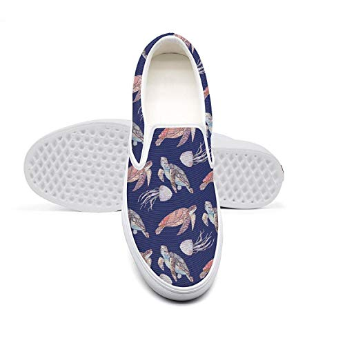 Abstract Turtles Blue Men's Shoes Canvas Sneakers White Slipons Limited Edition Casual Sneakers Running Shoes
