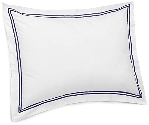 - Dornick Decor 400 Thread Count 100% Cotton Sateen Hotel Stitch Pillow Sham Standard Navy