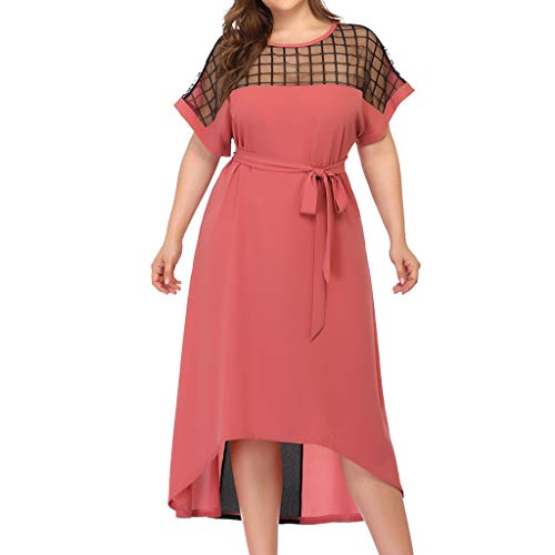 Answerl☀ Women's Short Sleeve Plaid Casual Flowy Midi Belt Dress Crew Neck Asymmetrical Hem Dresses Pink ()
