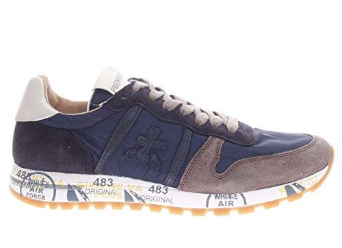 PREMIATA Uomo Sneaker Eric VAR 2816 Sneaker in Pelle e Tessuto Uomo Blu/Tortora Salida Auténtico Barato N1ozxthp