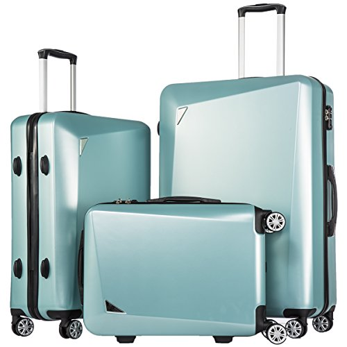 [Coolife Luggage 3 Piece Sets PC+ABS Spinner Suitcase 20 inch 24 inch 28 inch (ice blue)] (20