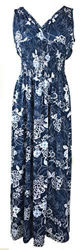 Plum Feathers Exotic Print Smocked Waist Maxi Dress Plus & Regular Sizes Tropical Floral Navy 1x