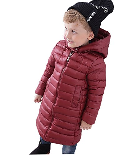 Winered Chic Long Jacket Coat EkarLam® Children Hooded Plain Outwear Kids Zip Down q1wUgOPn