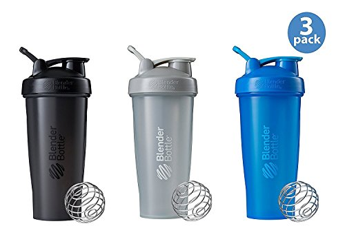 BlenderBottle Classic Loop Top Shaker Bottle 3-Pack, 28 ounce, Colors May Vary (Best Blender For Protein Shakes)