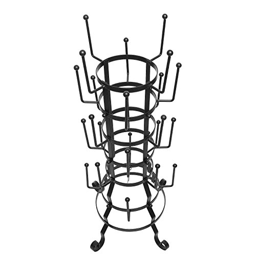 MyGift Vintage Rustic Black Iron Mug/Glass/Cup/Bottle Hanger Hooks Drying Rack Organizer Stand by MyGift (Image #3)