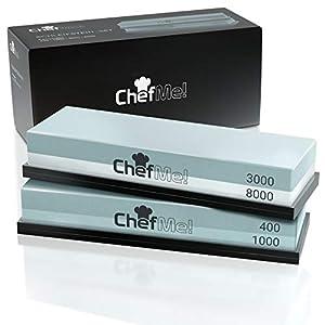 ChefMe! Pietra per Affilare Set con Istruzioni Italiane 400/1000/3000/8000 | Levigatrice per Coltelli | Whetstone con… 6